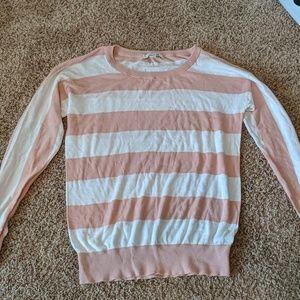 Pink and cream striped sweater size medium
